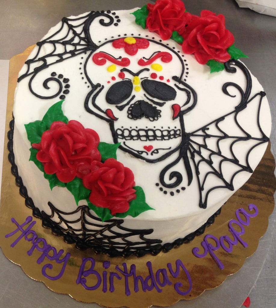 "Skull and Webs Halloween 8"" Cake"