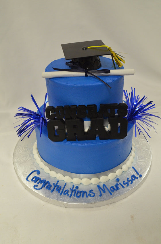 "Congrats Grad Tiered Cake Simple 7-4"" (Serves 10-12)"