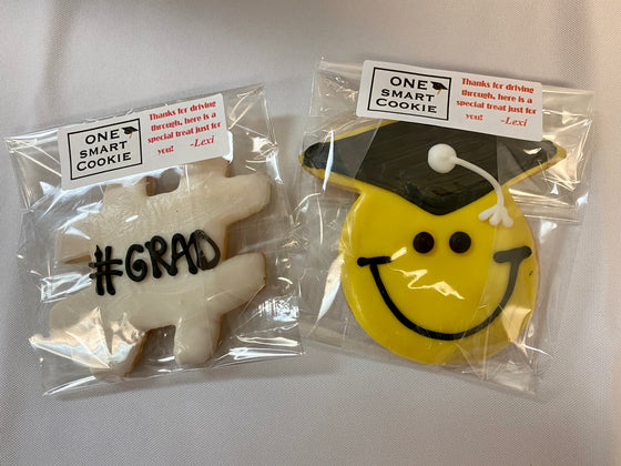 Graduation Party Smiley Grad & Hashtag Packaged Cookies (Quantity 6)