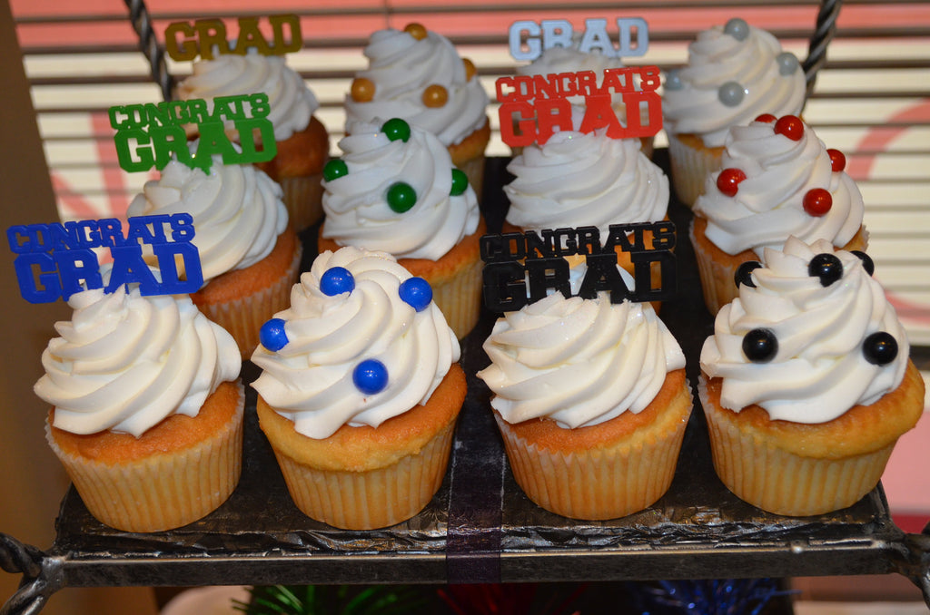 Graduation Cupcakes with Picks or Sixlets