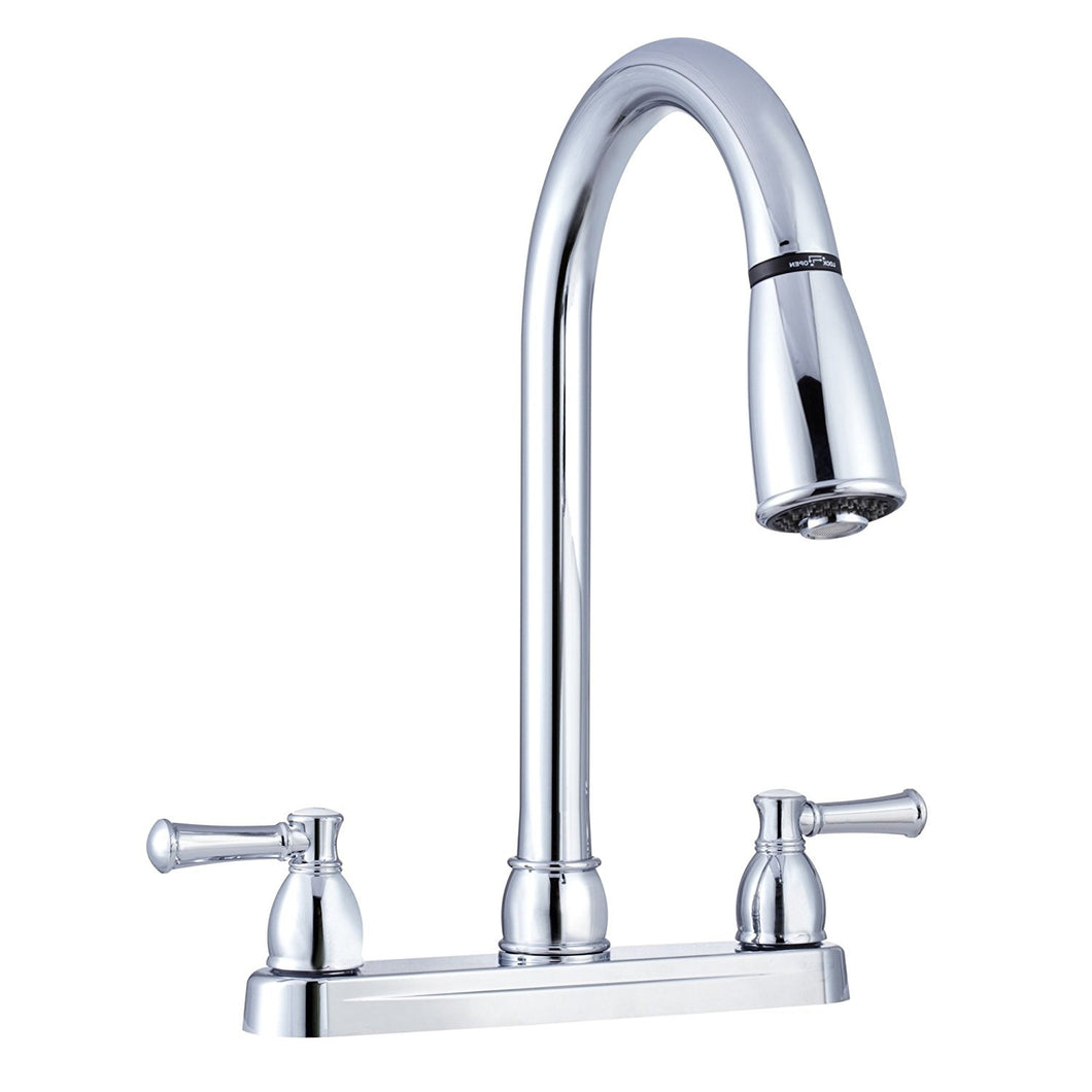 Chrome Polished Dual Lever Pull Down Kitchen Faucet