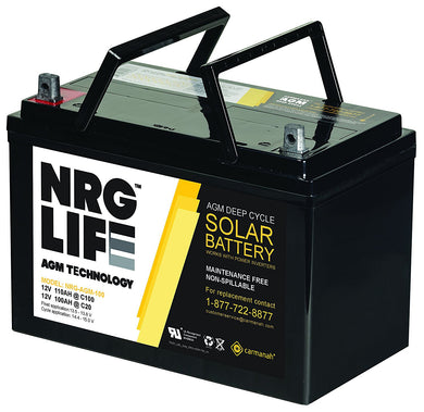 100 Amp AGM Deep Cycle Rechargeable Replacement Battery for PV Solar and Inverters (No Maintenance)