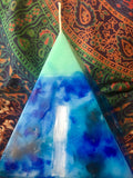 Crystal Candle -Green Tipped Pyramid Candle with inlaid Crystals & Geodes that illuminate when Lit! - Hippie Dippies Crystal Candles
