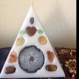 Crystal Candle-White Pyramid Candle inlaid  with Crystals & Geode that illuminate when lit! - Hippie Dippies Crystal Candles