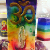 Crystal Chakra Candle-Tall Sq. Om / Angel Aura Tie Dye inlaid w/ Crystals & Gemstones that illuminate when lit! - Hippie Dippies Crystal Candles
