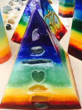 7 Layer Chakra Pyramid Candle with inlaid Crystals and Gemstones that illuminate when Lit! - Hippie Dippies Crystal Candles