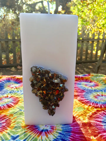 Crystal Candle~ White Tall Square Candle w/ an inlaid Gold Aura Crystal Cluster! - Hippie Dippies Crystal Candles