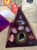 Crystal Candle-Deep Red Pyramid Candle with inlaid Crystals & Geodes that illuminate when lit! - Hippie Dippies Crystal Candles