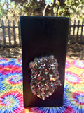 Black Tall Square Protection & Abundance Candle w/ an inlaid Silver Aura Quartz Crystal Cluster! - Hippie Dippies Crystal Candles