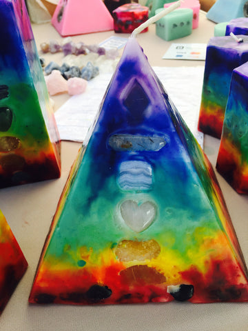 7 Layer TieDye Chakra Pyramid Candle w/ inlaid Crystals that illuminate when Lit! - Hippie Dippies Crystal Candles
