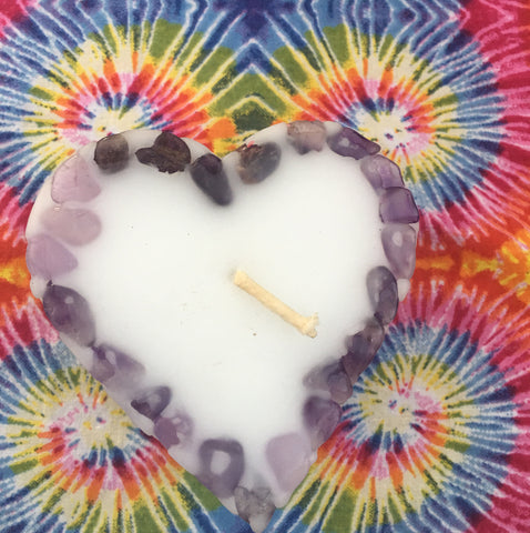 Love is the Answer-Small Heart Candle inlaid with Amethyst Crystals that illuminate when lit! - Hippie Dippies Crystal Candles
