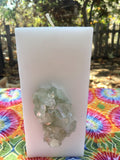 Tall Square Crystal Candle with an inlaid Apophyllite Crystal Cluster that illuminates when lit! - Hippie Dippies Crystal Candles