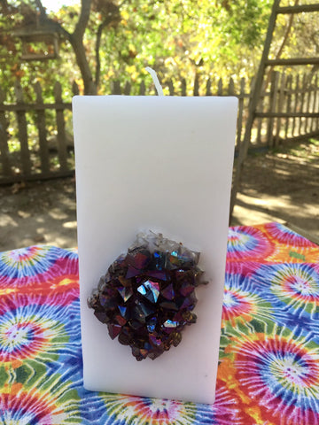 White Tall Purification & Protection Crystal Candle w/ an inlaid Rainbow Aura Amethyst! - Hippie Dippies Crystal Candles