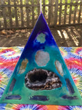 Crystal Candle -Mini Pyramid Tie Dyed Candle with inlaid Crystals & Geodes that illuminate when lit! - Hippie Dippies Crystal Candles