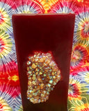 Tall Square Candle with an inlaid Opal Citrine Aura Cluster that illuminates when lit! - Hippie Dippies Crystal Candles