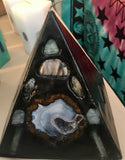 Crystal Candle -Black Pyramid with inlaid Crystals & Geode that illuminate when lit! - Hippie Dippies Crystal Candles