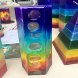 7 Layer Tall Tie Dye Hexagon Chakra Candle inlaid w/ Crystals & Gemstones that illuminate when lit! - Hippie Dippies Crystal Candles