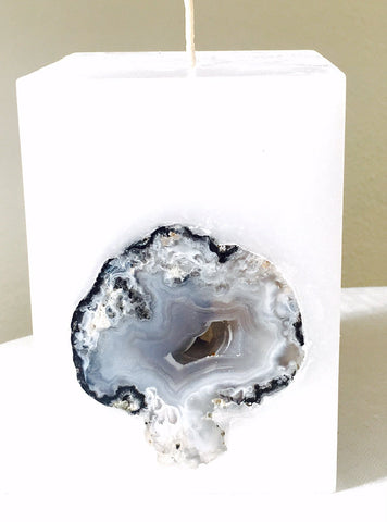 Crystal Geode Candle- Chub Square Candle with an inlaid Crystal Geode that illuminates when lit! - Hippie Dippies Crystal Candles