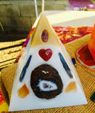 White/Gold Tipped Pyramid Candle with inlaid Crystals & Geodes that illuminate when lit! - Hippie Dippies Crystal Candles
