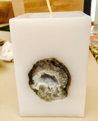 Crystal Candle Small Square Candle with an inlaid Crystal Geode that illuminates when lit! - Hippie Dippies Crystal Candles