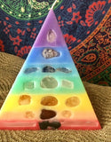 7 Layer Pastel Chakra Pyramid Candle with inlaid Crystals & Gemstones that illuminate when Lit! - Hippie Dippies Crystal Candles