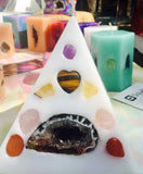 Crystal Candle -Mini Pyramid Candle with inlaid Crystals & Geodes that illuminate when lit! - Hippie Dippies Crystal Candles