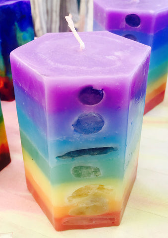 7 Layer Pastel Small Hexagon Candle inlaid with Crystals & Gemstones that illuminate when lit! - Hippie Dippies Crystal Candles