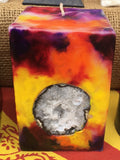 Small Square Tie Dyed Candle with an inlaid Crystal Geode that illuminates when lit! - Hippie Dippies Crystal Candles