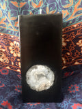 Black Tall Square Scented Candle with an inlaid Crystal Geode that illuminates when lit! - Hippie Dippies Crystal Candles