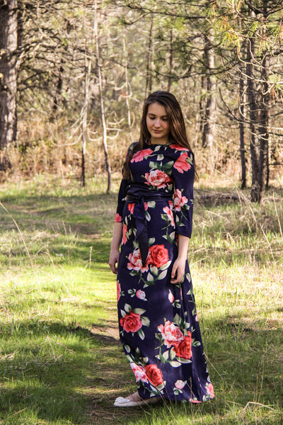 Floral Printed Dress with Sash