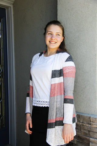 Striped Dropping Handles Cardigan
