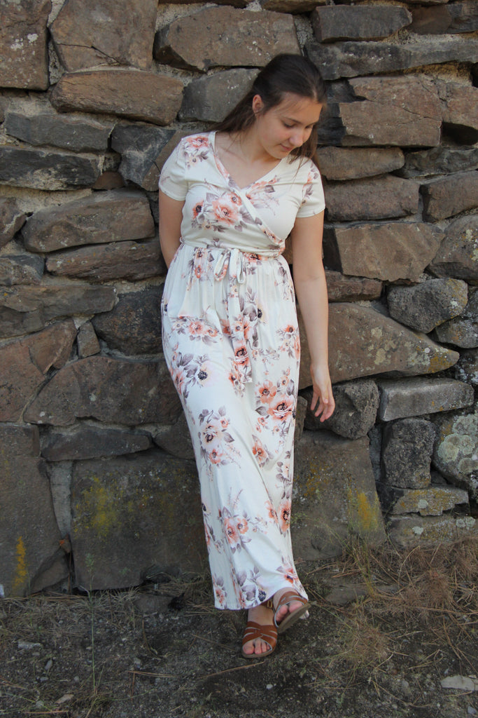 Ivory and Peach Floral Long Dress