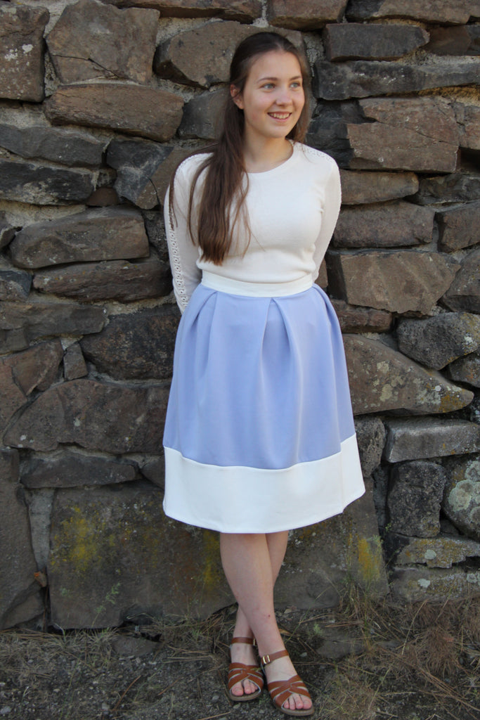 Blue Pastel Pleated Skirt