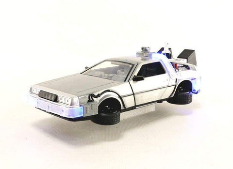 Back to the Future Part II w. Lights Sliver  - 1:24 Die-Cast Metal Model Collectable Toy Car