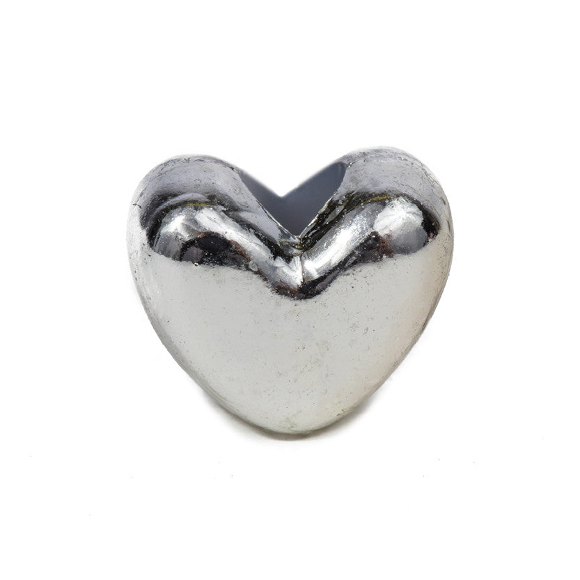 Small Silver Heart Bead - 100 Bead Pack