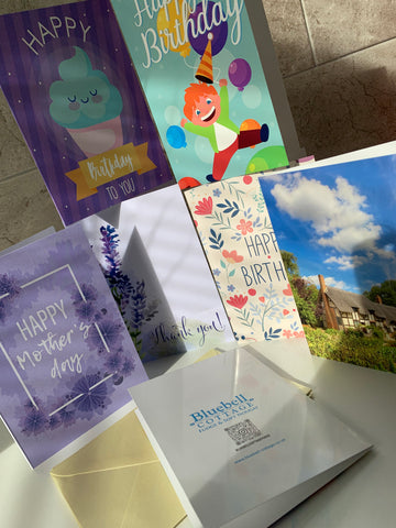 Greetings Cards are now available to add to your order with Bluebell Cottage