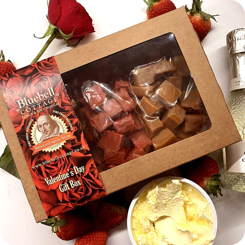 Special Edition Valentines Day 1KG Fudge Gift Box - Prosecco, Strawberry, Clotted Cream