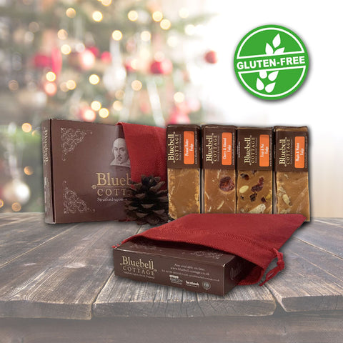 Fudge 4 Bar Nutty Gift Box in a Christmas Sack (choose design) - Gluten Free