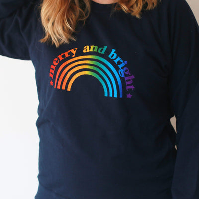 Merry and Bright Christmas Adult Rainbow Sweater