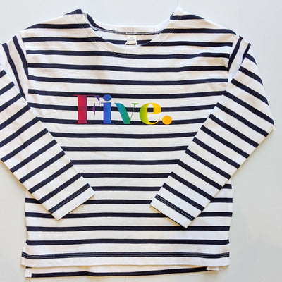 Rainbow Text Striped Tee (long and short sleeves)