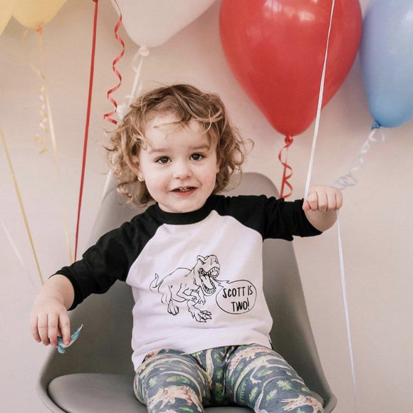 Dino Birthday Raglan Kids Baseball Top