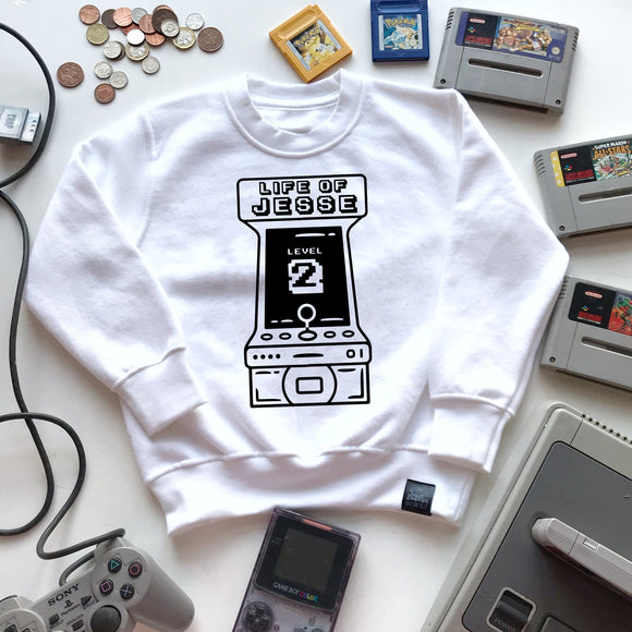 kids personalised birthday arcade sweater