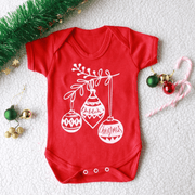 Personalised First Christmas Baubles Baby Christmas Sleep Suit /Vest