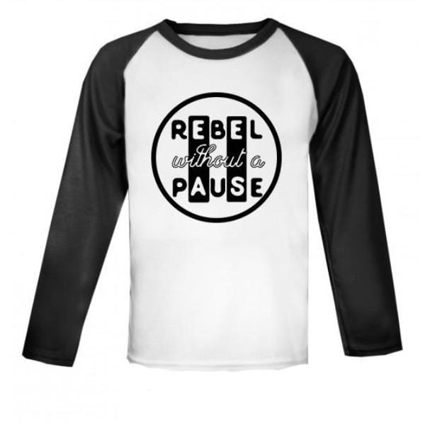 Rebel Without a Pause Raglan Baseball Top