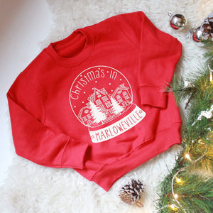 personalised snow globe kids jumper