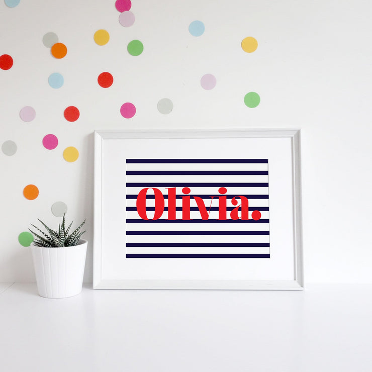 Classic Personalised Name Stripe Art Print