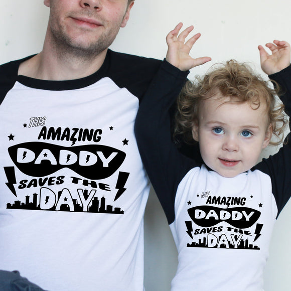 Superhero Daddy/Mummy and me Raglan Baseball/ T-Shirt or Vest Set
