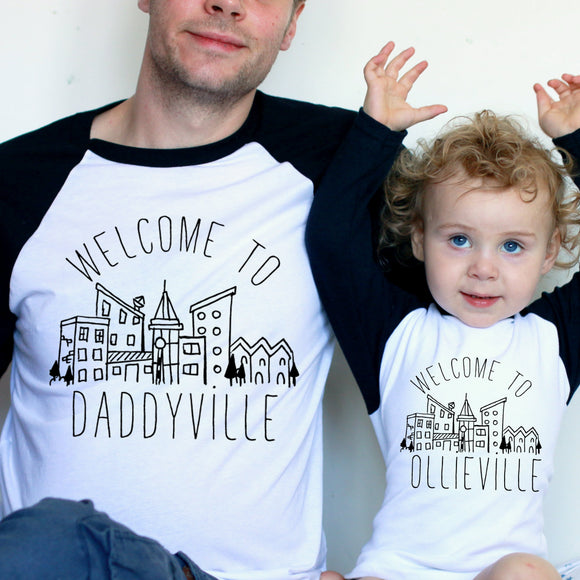 Daddyville Town Daddy and Me Set Raglan Baseball/ T-Shirt or Vest