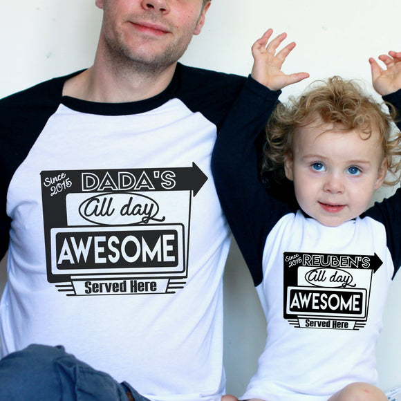 personalised daddy and me t shirt set