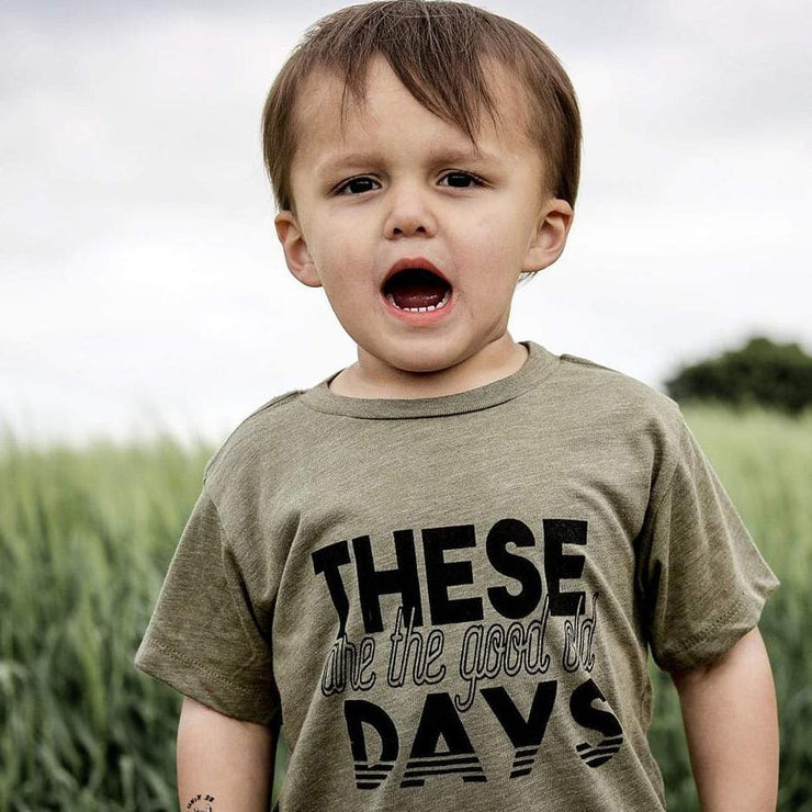 these are the good old days kids slogan t-shirt